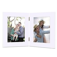 Adeco Decorative White Wood Hinged Table Desk Top Picture Photo Frame 2 Vertical Portrait Openings 5x7 Rectangular -- See this great product.