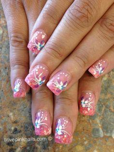 Crystal Gel Flower Nails