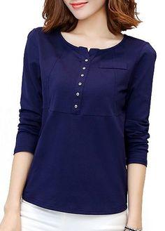 Navy Blue Long Sleeve Quarter Button T Shirt  cca88f269cc