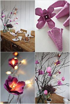 flores con cajas de huevo y luces
