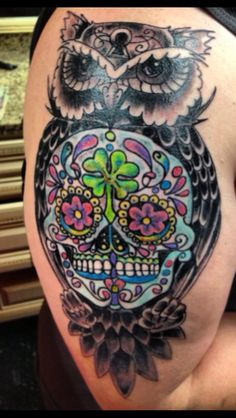 owl sugar skull tattoo | inkcover tattoo photo gallery ideas art and designs from the