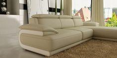Divani Casa 6134 Modern Cream and White Bonded Leather Sectional Sofa