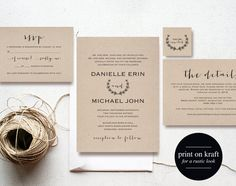 Vintage Wedding Invitation Printable, Wedding Invitation Template, Invitation Set, Editable Wedding Invite, PDF Instant Download #BPB168_1