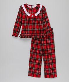 Look at this #zulilyfind! Komar Kids Red Plaid Ruffle Pajama Set - Girls by Komar Kids #zulilyfinds