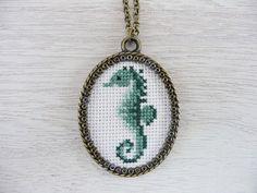 Aqua green seahorse cross stitch necklace, Vintage style fabric pendant…