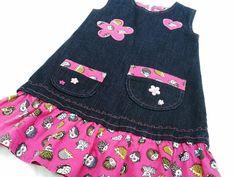 """verspieltes Mädchenkleid    Jeanskleid    """"Unikat in Größe 98/104""""      ♥♥♥♥♥    schönes Jeanskleid für Mädchen, verspielte Taschen, Abschluß gerüs..."""