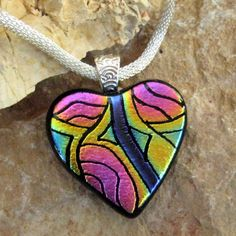 Fused Glass Heart Pendant Dichroic Fused Glass Hand by GlassCat