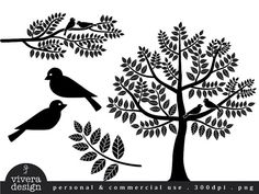 Digital Silhouette  Love Birds Branches and Tree by viveradesign, $5.00