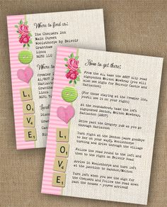 LOVE IN LETTERS WEDDING INVITATION ADDITIONAL INFORMATION INSERT