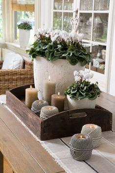 Looking for positioning ideas for a window sill or a table-scape. We love the co… Looking for positioning ideas for a window sill or a table-scape. We love the combination of plants and candles. Curtain Designs, Decorating Coffee Tables, Deco Table, Home And Deco, Home And Living, Living Room, Home Accessories, Natural Accessories, Farmhouse Decor