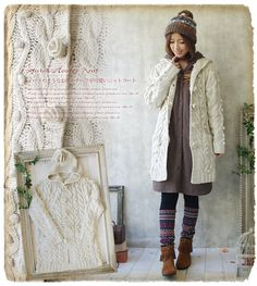 Favorite shop: One Piece - No mail service] knit coat that * you * ゜ dust knit popcorn cable knit flower motif, such as three-dimensional cute knit Court Suites [Rakuten]