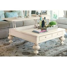 Buy Paula Deen Home Put Your Feet Up Square Linen Wood Lift Top Coffee Table: Curvaceous turned legs and handy lift-up tray. View ratings, reviews or browse similar Coffee Tables at Hayneedle.