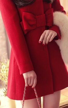 #stylish Red Plain Bow Long Sleeve Thick Wool Coat