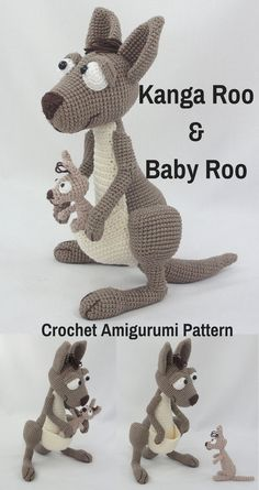 Kanga Roo & Baby Roo are sweet crocheted amigurumi Kangaroo dolls that would love to jump around your house. You can create your own Kanga Roo & Baby Roo with this downloadable pattern. #crochet #amigurumi #crochetdoll #ad #amigurumidoll #amigurumipattern #kangaroo #instantdownload
