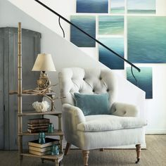 Oxnard | Giannetti Architects: Like the collection of water behind the chair.  paint something like this on laundry room wall.