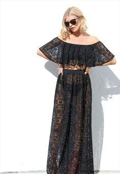 such a pretty black lace two piece