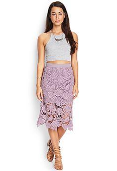 Crochet Lace Midi Skirt | FOREVER21 - 2000064399