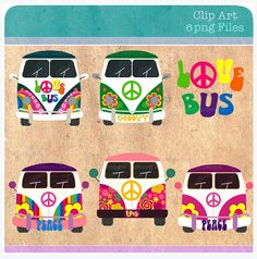Love bus digital clip art Peace signs Clipart for by DigiCaffe, $3.50