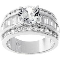 Kate Bissett Silvertone Round-cut Bridal-inspired CZ Ring White featuring polyvore, fashion, jewelry, rings, white, long rings, engagement rings, emerald cut engagement rings, bridal rings and zirconia engagement rings
