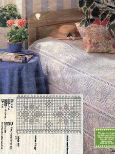 CROCHET: Filet Bedspread With Diagram