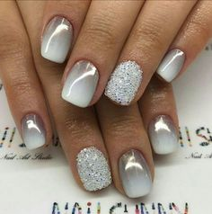 gray to white ombre nails