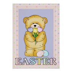 Chubby Cubby Teddy Bear Easter Holiday Poster d7