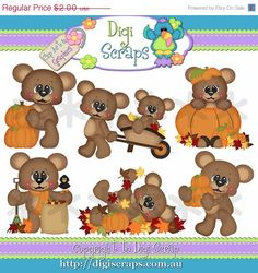 Henry Autumn fun Clipart set... you will recieve 300dpi png files  design by: Kristi W    HANDMADE items are always allowed and are considered the