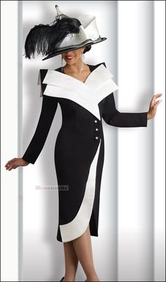 Simply Stunning and Elegant Dress from Donna Vinci Collection 11139 Church Attire, Church Outfits, Women Church Suits, Church Dresses For Women, Suits Women, Women's Suits, Church Fashion, Church Hats, Church Suits And Hats