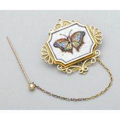 Micromosaic | 2011: MICROMOSAIC AND GOLD BUTTERFLY BROOCH : Lot 2011