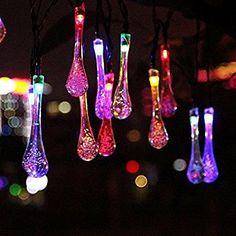 Uping® Solar Lichterkette 30er led Wassertropfen für Party, Garten, Weihnachten, Halloween, Hochzeit, Beleuchtung Deko in Innen und Außenbereich usw. Wasserdicht 6,5M mehrfarbig: Amazon.de: Beleuchtung
