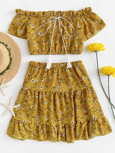 Off The Shoulder Flower Print Ruffle Crop Top With SkirtsFor Women-romwe Summer Fashion Outfits, Cute Summer Outfits, Kids Outfits, Fashion Dresses, Crop Tops For Kids, Crop Top Designs, Crop Top Dress, Really Cute Outfits, Kurti Designs Party Wear