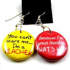 Funny teacher earrings