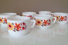 Tasses à café Arcopal - Décor fleurs - vintage - années 70 in Maison   eBay