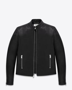 CLASSIC SAINT LAURENT leather MOTOCROSS JACKET WITH BAND COLLAR, 2 ZIP POCKETS and ZIP CUFFS.