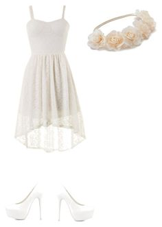 """""""White and bohemian"""" by lcardboard ❤ liked on Polyvore featuring Nly Shoes and Mudd"""