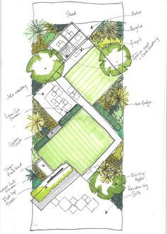 Twisting this space on a 45 angle stretches the garden along its longest lines. Featuring a pathway, water feature and pergola it packs a lot in Urban Garden Design, Garden Design Plans, Landscape Design Plans, Landscape Architecture Design, Leigh On Sea, Garden Drawing, Earth Design, Garden Planning, Designs To Draw