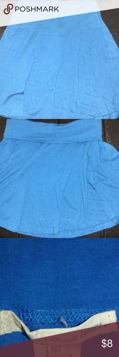 Pretty blue skater type skirt Fold down waist band. Can dress up, wear casual or even as a swimsuit cover up. Very comfy and flattering. Derek Heart Skirts Circle & Skater