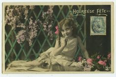 c 1910 child Children CUTE LITTLE FRENCH Girl tinted photo postcard