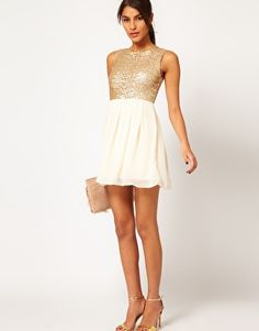 BM  Enlarge TFNC Babydoll Dress with Sequin Bodice