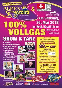 Das 100% Vollgas- Ticket beinhaltet ein absolutes VIP- Treatment!  - 17:00 Uhr - VIP Aperò mit den Künstlern - 18:00 Uhr - Abendessen mit 3-Gang Menü  - 19:00 Uhr - Show - inklusive Überraschungs-CD Atlantis, Festivals, Ticket, Highlights, Comic Books, Cover, Concerts, Food Dinners, Clock