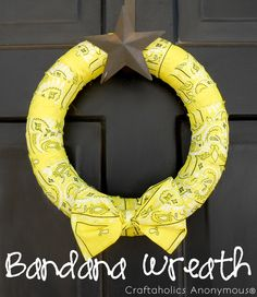 Blogger says: I made this bright, fun bandana wreath for my front door to celebrate the end of school schedules and the beginning of our summer freedom!  I love how simple it is, while still having a huge impact on my entryway.  You'll never believe how inexpensive it was or or how little time it took to make.
