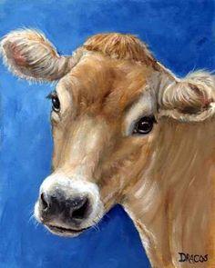 Jersey Cow Farm Animal Art 8x10 Print by Dottie Dracos Jersey on Blue