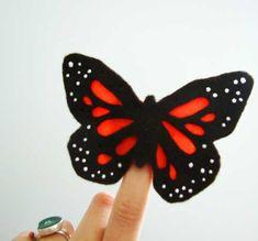 Monarch Butterfly Felt Finger Puppet
