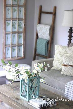 Creme and Botanical Blue Neutral Home Decor Ideas