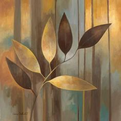 Autumn Elegance I Wall Art by Elaine Vollherbst-Lane Gold Leaf Art, Deco Originale, Painted Leaves, Art Pictures, Framed Art Prints, Canvas Art, Artwork, Wall Art, Wall Décor
