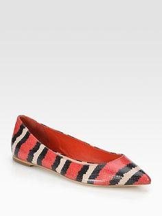 Color, Shape & Print   Loeffler Randall - Scarlet Snake-Print Leather Ballet Flats - Saks.com