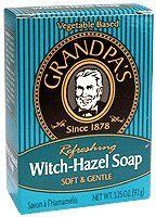 Grandpa's - Soap Witch Hazel - 3.25 oz by Grandpa Soap Company. $2.58. GRANDPA'S BRANDS Witch Hazel Soap 3.25 OZ. Witch Hazel Soap by Grandpa Soap Company 3.25 oz. Bar An old favorite Tones and refreshes the skin. Lightly scented pale blue green bar. Distilled from the witch hazel shrub (Hamamelis virginiana) which grows wild in the northeast U.S. and parts of Asia.
