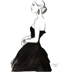 Original Watercolor and Pen Fashion Illustration Vintage Glamour ($400) ❤ liked on Polyvore featuring home, home decor and wall art