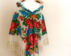 Image result for russian shawl scarf square fringe