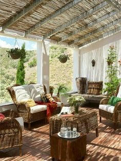 Patio with bamboo sun shade and wooden structure